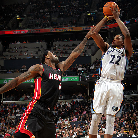 Rudy Gay sinks a game winning shot over Lebron James.