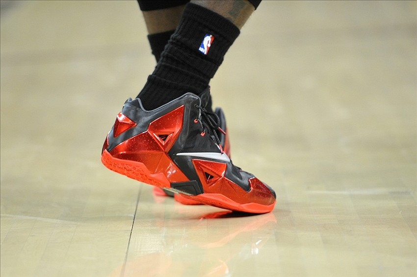 Nov 27, 2013; Cleveland, OH, USA; The shoes of Miami Heat small forward  LeBron James (6) during a game against the Cleveland Cavaliers at Quicken  Loans ...