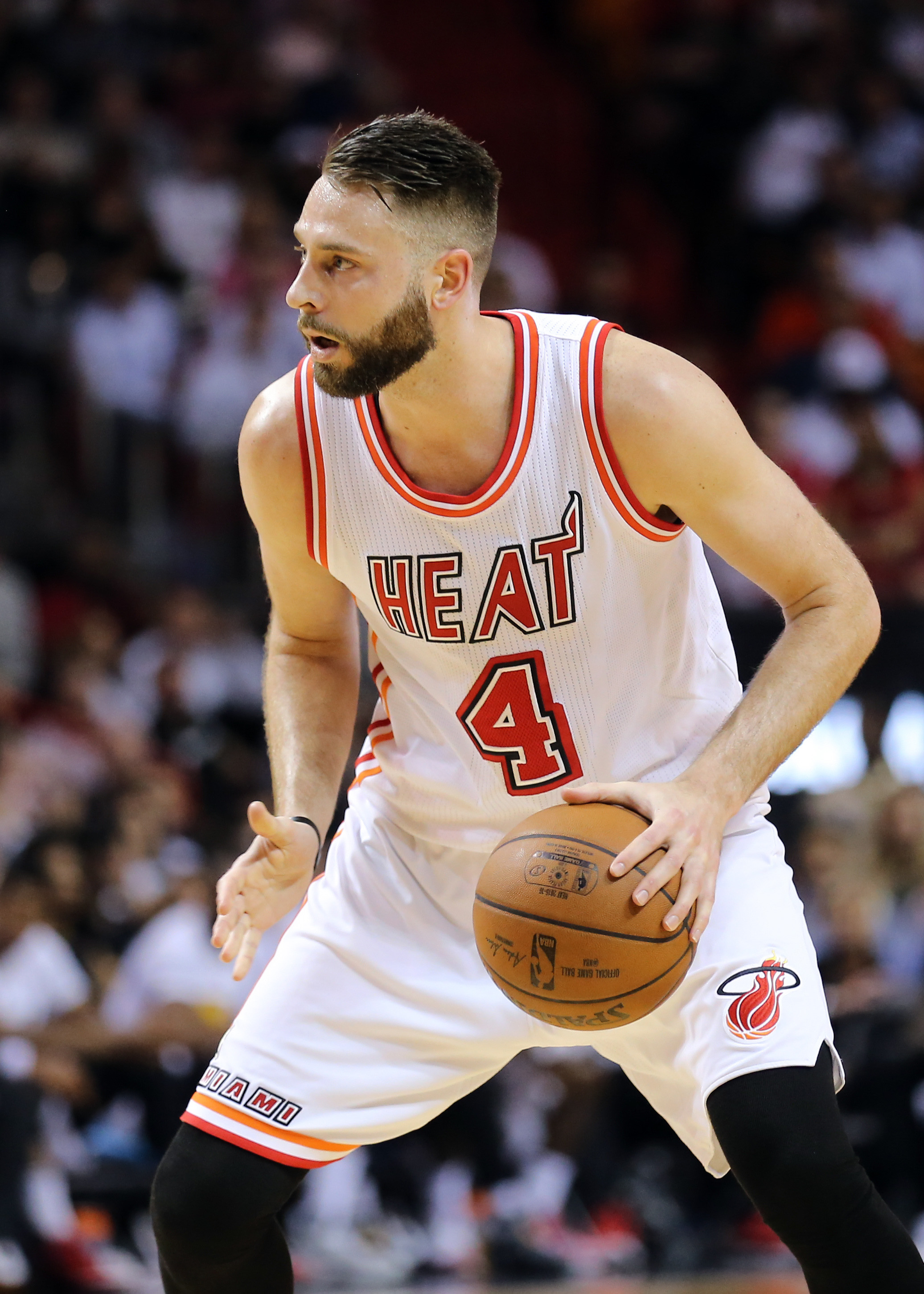 Feb 24 2016 Miami Fl Usa Heat Forward Josh Mcroberts 4 Dribbles The Ball Against Golden State Warriors During Second Half At American